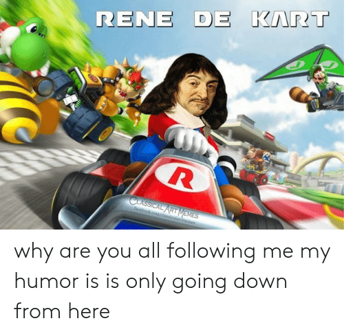 going down: RENE DE KART  CLASSICAL ART MEMES  facebookcom/classicalartimemes why are you all following me my humor is is only going down from here