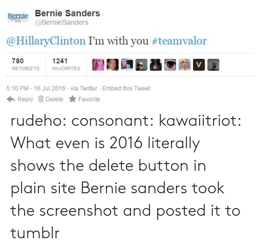 Bernie Sanders, Target, and Tumblr: Renie Bernie Sanders  Berme  BernieSanders  @HillaryClinton I'm with you #teamvalon.  780  RETWEETS  1241  FAVORITES  5:10 PM-16 Jul 2016 via Twitter Embed this Tweet  Reply Delete ★ Favorite rudeho:  consonant:  kawaiitriot:  What even is 2016   literally shows the delete button in plain site  Bernie sanders took the screenshot and posted it to tumblr