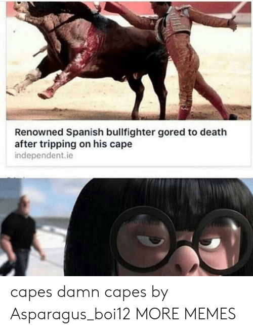 Dank, Memes, and Spanish: Renowned Spanish bullfighter gored to death  after tripping on his cape  independent.ie  capes damn capes by Asparagus_boi12 MORE MEMES