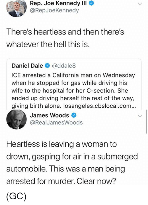 Being Alone, Driving, and Memes: Rep. Joe Kennedy IlI  @RepJoeKennedy  There's heartless and then there's  whatever the hell this is.  Daniel Dale @ddale8  ICE arrested a California man on Wednesday  when he stopped for gas while driving his  wife to the hospital for her C-section. She  ended up driving herself the rest of the way,  giving birth alone. losangeles.cbslocal.com...  James Woods  @RealJamesWoods  Heartless is leaving a woman to  drown, gasping for air in a submerged  automobile. This was a man being  arrested for murder. Clear now? (GC)