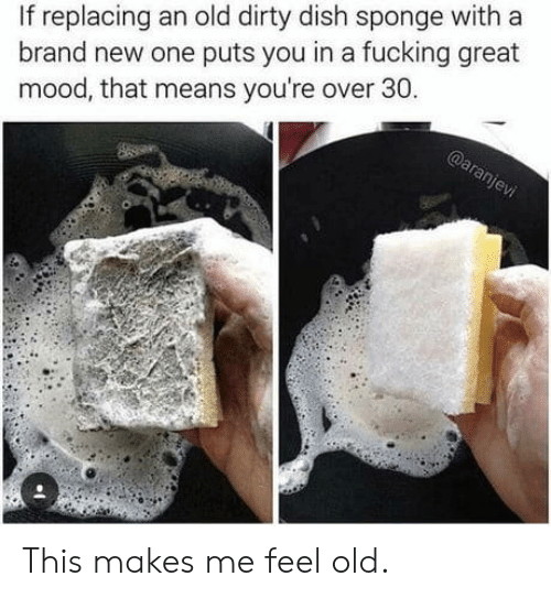 Fucking, Mood, and Dirty: replacing an old dirty dish sponge with a  brand new one puts you in a fucking great  mood, that means you're over 30. This makes me feel old.