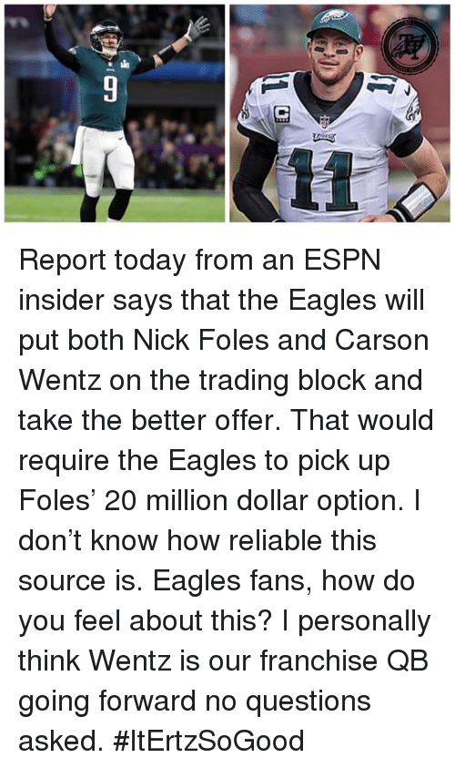 Philadelphia Eagles, Espn, and Memes: Report today from an ESPN insider says that the Eagles will put both Nick Foles and Carson Wentz on the trading block and take the better offer. That would require the Eagles to pick up Foles' 20 million dollar option. I don't know how reliable this source is. Eagles fans, how do you feel about this? I personally think Wentz is our franchise QB going forward no questions asked.  #ItErtzSoGood