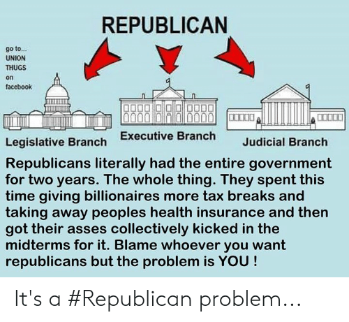 judicial branch: REPUBLICAN  go to...  UNION  THUGS  on  facebook  Legislative Branch Executive Branch  Republicans literally had the entire government  for two years. The whole thing. They spent this  time giving billionaires more tax breaks and  taking away peoples health insurance and then  got their asses collectively kicked in the  midterms for it. Blame whoever you want  republicans but the problem is YOU!  Judicial Branch It's a #Republican problem...