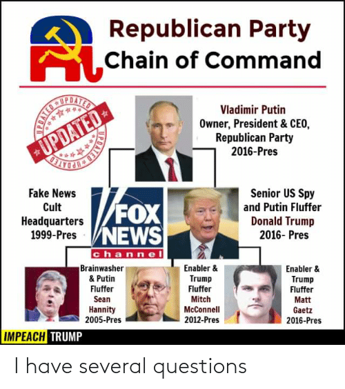 Republican Party: Republican Party  SChain of Command  UPDATED  UPDATED-  BUPDATED  Vladimir Putin  Owner, President & CEO,  Republican Party  2016-Pres  Senior US Spy  Fake News  Cult  Headquarters  1999-Pres VNEWS  FOX  and Putin Fluffer  Donald Trump  2016- Pres  channel  Brainwasher  & Putin  Fluffer  Enabler &  Enabler &  Trump  Trump  Fluffer  Matt  Gaetz  2016-Pres  Fluffer  Mitch  Sean  Hannity  2005-Pres  McConnell  2012-Pres  IMPEACH TRUMP  PDATED  BBATED I have several questions