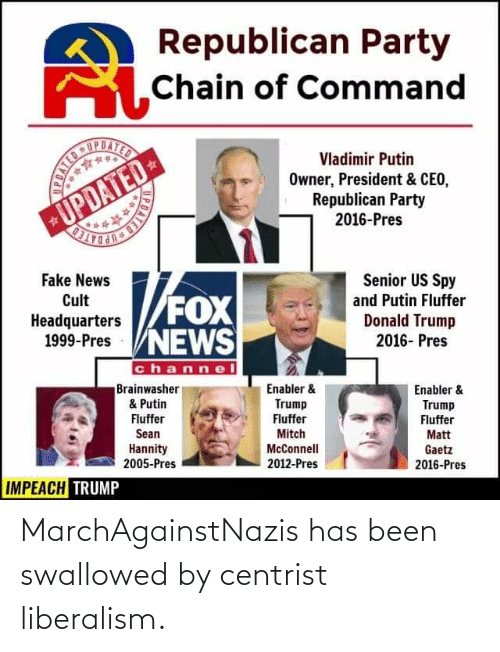Republican Party: Republican Party  SChain of Command  UPDATED  Vladimir Putin  Owner, President & CEO,  Republican Party  2016-Pres  UPDATED-  Senior US Spy  Fake News  FOX  Cult  and Putin Fluffer  XO:  Donald Trump  2016- Pres  Headquarters  1999-Pres VNEWS  channel  Brainwasher  & Putin  Enabler &  Enabler &  Trump  Trump  Fluffer  Fluffer  Fluffer  Sean  Mitch  Matt  Hannity  2005-Pres  McConnell  Gaetz  2016-Pres  2012-Pres  IMPEACH TRUMP  PDAT  POATED MarchAgainstNazis has been swallowed by centrist liberalism.
