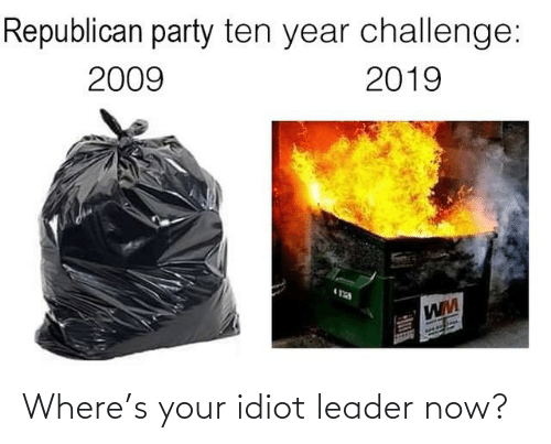Republican Party: Republican party ten year challenge:  2009  2019 Where's your idiot leader now?
