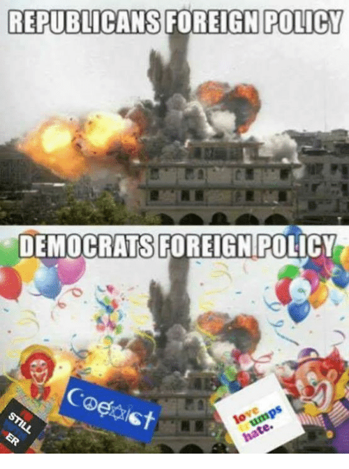 Memes, 🤖, and Policy: REPUBLICANS  FOREIGN POLICY  DEMOCRATS FOREIGN POLICY