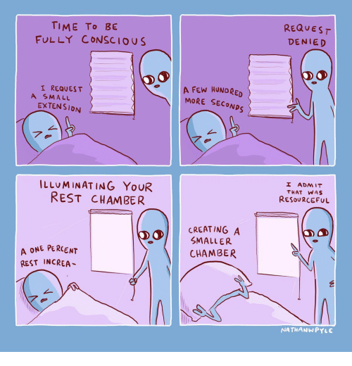 T A: REQUEST  TIME To BE  FULLY CONSCIOUS  DENIED  A FEW HUNDRED  MORE SECONDS  I REQUES T  A SMALL  EXTENSION  7.  I ADMIT  ILLUMINATING YOUR  REST CHAMBER  THAT WAS  RESOURCEFUL  CREATING A  SMALLER  A ONE PERCENT  REST INCREA  CHAMBER  NATHANWPYLE