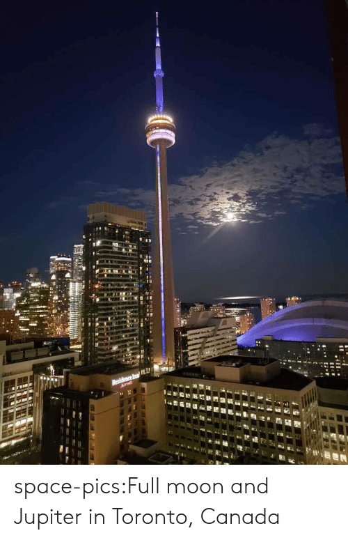 Tumblr, Blog, and Canada: Residence In space-pics:Full moon and Jupiter in Toronto, Canada
