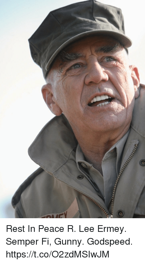 Memes, R. Lee Ermey, and Peace: Rest In Peace R. Lee Ermey.  Semper Fi, Gunny. Godspeed. https://t.co/O2zdMSIwJM