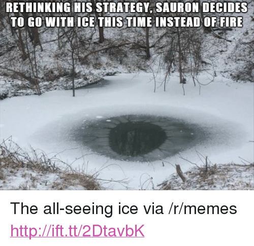 "Fire, Memes, and Http: RETHINKING HIS STRATEGY, SAURON DECIDES  TO GO WITH ICE THIS TIME INSTEAD OF FIRE <p>The all-seeing ice via /r/memes <a href=""http://ift.tt/2DtavbK"">http://ift.tt/2DtavbK</a></p>"