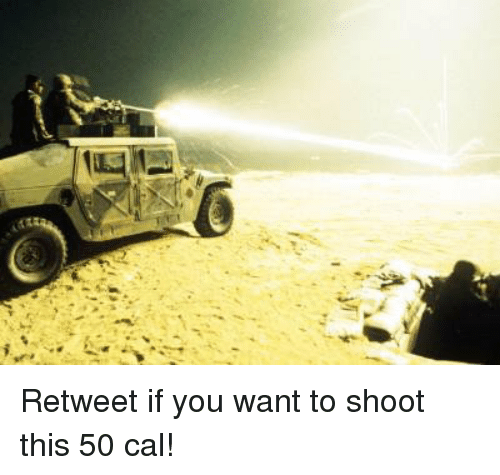 Memes, 🤖, and Cal: Retweet if you want to shoot this 50 cal!