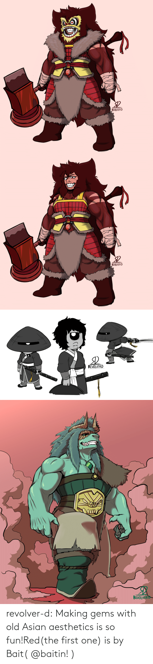 Old: revolver-d:  Making gems with old Asian aesthetics is so fun!Red(the first one) is by Bait( @baitin! )