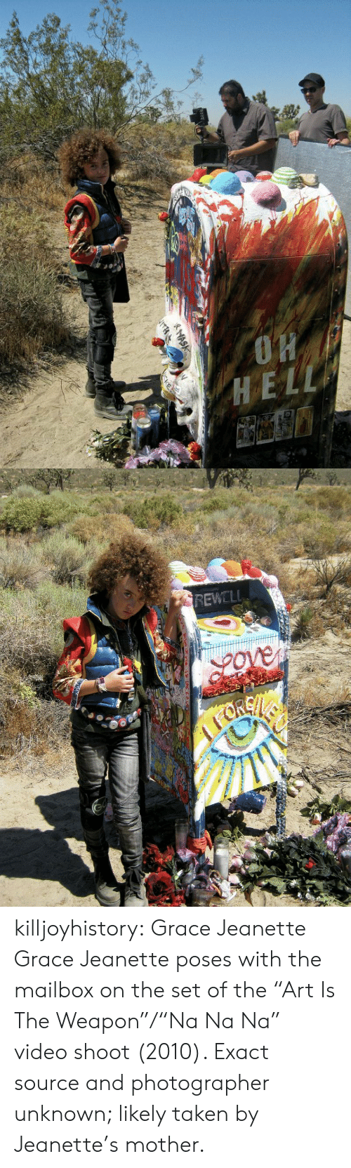 """Taken, Tumblr, and Blog: REWELL killjoyhistory: Grace Jeanette Grace Jeanette poses with the mailbox on the set of the """"Art Is The Weapon""""/""""Na Na Na"""" video shoot (2010). Exact source and photographer unknown; likely taken by Jeanette's mother."""