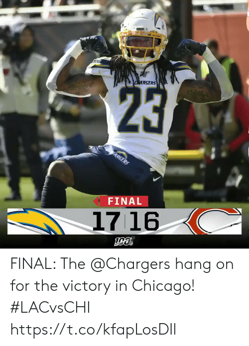 Chicago: RGERS  23  ARGERS  FINAL  1716 FINAL: The @Chargers hang on for the victory in Chicago! #LACvsCHI https://t.co/kfapLosDIl