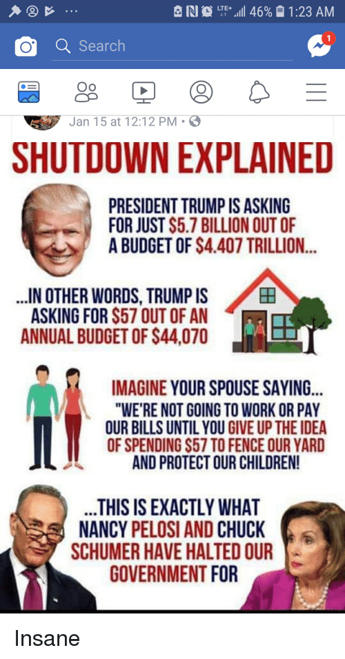 "Children, Work, and Budget: RI  LTE.111 46% 01:23 AM  o a Search  Oo  Jan 1 5 at 12:12 PM-  SHUTDOWN EXPLAINED  PRESIDENT TRUMP IS ASKING  FOR JUST S5.7 BILLION OUT OF  A BUDGET OF $4.407 TRILLION...  IN OTHER WORDS, TRUMP IS  ASkyND 1 OR S57 OUT OF AN  ANNUAL BUDGET OF $44,070  田  IMAGINE YOUR SPOUSE SAYING...  ""WE'RE NOT GOING TO WORK OR PAY  OUR BILLS UNTIL YOU GIVE UP THE IDEA  OF SPENDING $57 TO FENCE OUR YARD  AND PROTECT OUR CHILDREN!  HIS IS EXACTLY WHATa  NANCY PELOSI AND CHUCK  SCHUMER HAVE HALTED OUR  GOVERNMENT FOR"