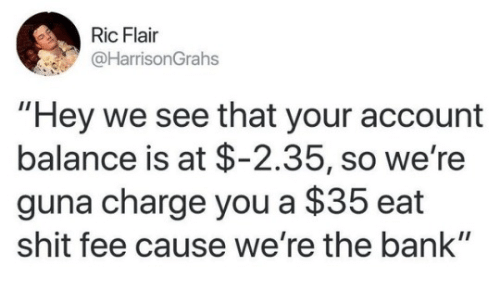 """Shit, Bank, and Ric Flair: Ric Flair  @HarrisonGrahs  """"Hey we see that your account  balance is at $-2.35, so we're  guna charge you a $35 eat  shit fee cause we're the bank"""""""