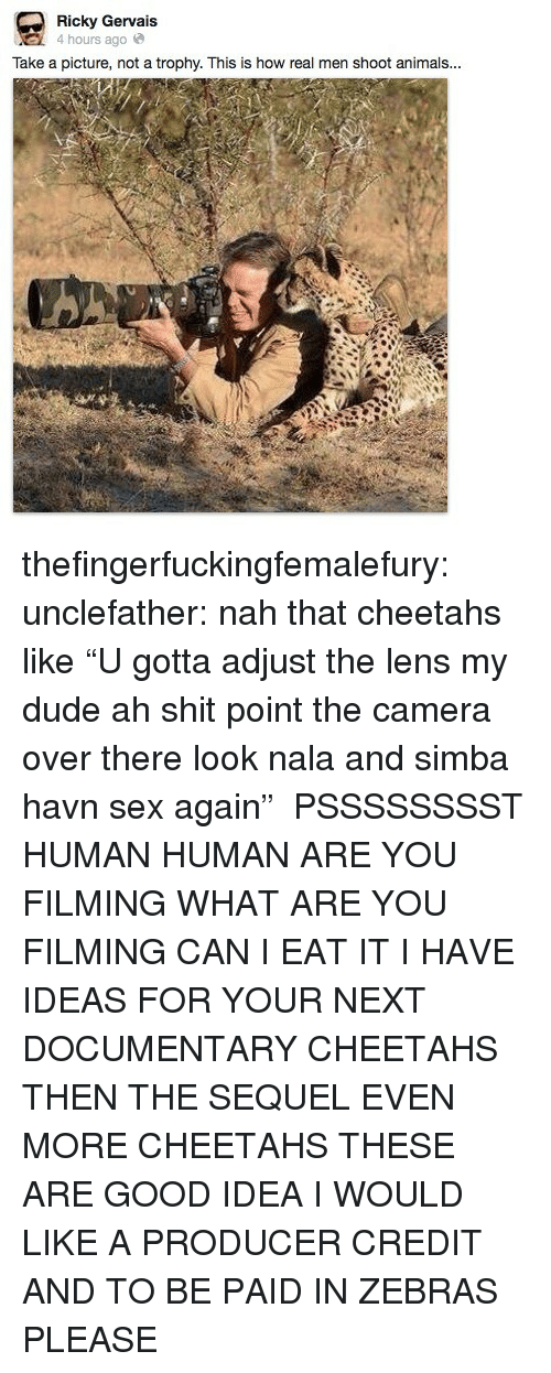 """Animals, Dude, and Sex: Ricky Gervais  4 hours agoe  Take a picture, not a trophy. This is how real men shoot animals... thefingerfuckingfemalefury:  unclefather:  nah that cheetahs like """"U gotta adjust the lens my dude ah shit point the camera over there look nala and simba havn sex again""""  PSSSSSSSST HUMAN HUMAN ARE YOU FILMING WHAT ARE YOU FILMING CAN I EAT IT I HAVE IDEAS FOR YOUR NEXT DOCUMENTARY CHEETAHS THEN THE SEQUEL EVEN MORE CHEETAHS THESE ARE GOOD IDEA I WOULD LIKE A PRODUCER CREDIT AND TO BE PAID IN ZEBRAS PLEASE"""