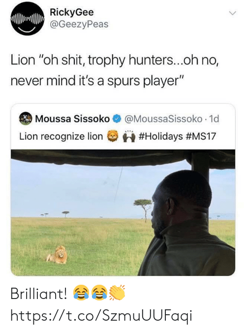"Shit, Soccer, and Lion: RickyGee  @GeezyPeas  Lion ""oh shit, trophy hunters...oh no,  never mind it's a spurs player""  @MoussaSissoko 1d  Moussa Sissoko  Lion recognize lion  Brilliant! 😂😂👏 https://t.co/SzmuUUFaqi"