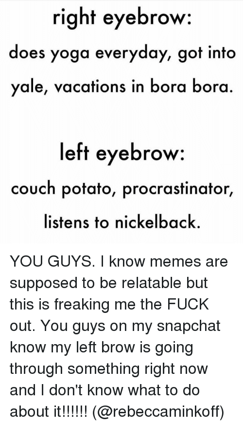 Nickelback: right eyebrow:  does yoga everyday, got into  ale, vacations in bora bora  left eyebrow  couch potato, procrastinator  listens to nickelback YOU GUYS. I know memes are supposed to be relatable but this is freaking me the FUCK out. You guys on my snapchat know my left brow is going through something right now and I don't know what to do about it!!!!!! (@rebeccaminkoff)