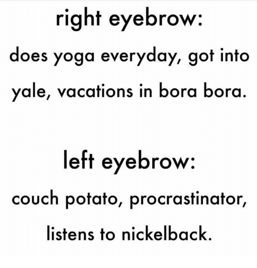 Nickelback: right eyebrow  does yoga everyday, got into  yale, vacations in bora bora  left eyebrow  couch potato, procrastinator,  listens to nickelback.