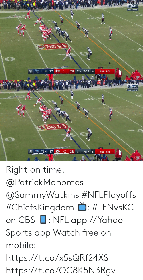 Mobile: Right on time. @PatrickMahomes @SammyWatkins #NFLPlayoffs #ChiefsKingdom  📺: #TENvsKC on CBS 📱: NFL app // Yahoo Sports app Watch free on mobile: https://t.co/x5sQRf24XS https://t.co/OC8K5N3Rgv