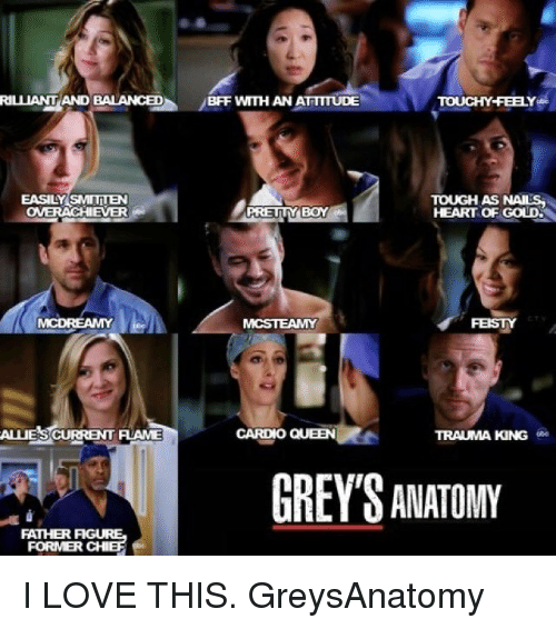 Pretty Boy: RILLIANTAND BALANCED  BFF WMTH AN ATTTTUDE  TOUCHY FEELY  EASILY SMITTEN  TOUGH AS NAILS  PRETTY BOY  HEART OF GOLDS  MCSTEAMY  CARDIO QUEEN  ALUESCURRENT FLAME  TRAUMA KING  GREYS ANATOMY  FORMER CHI I LOVE THIS. GreysAnatomy