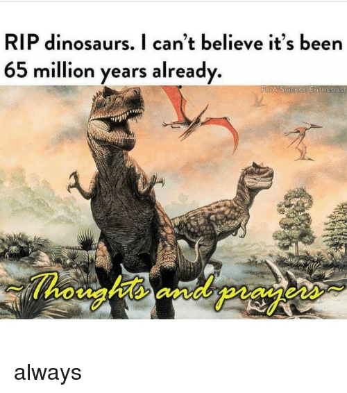 Dinosaurs, Science, and Dank Memes: RIP dinosaurs, I can't believe it's been  65 million years already.  FB/A SCIENCE ENTHUSIAST  ens always
