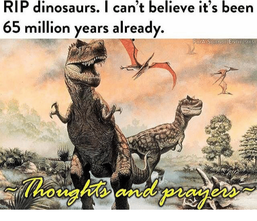 Dinosaurs, Dank Memes, and Been: RIP dinosaurs. I can't believe it's been  65 million years already  FBIA SCIENGE ENTHUSIAST  Thoughts andpiay  eas