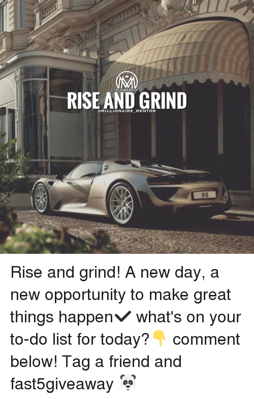 Memes, 🤖, and Millionaire: RISE AND GRIND  @MILLIONAIRE MENTOR Rise and grind! A new day, a new opportunity to make great things happen✔️ what's on your to-do list for today?👇 comment below! Tag a friend and fast5giveaway 🐼