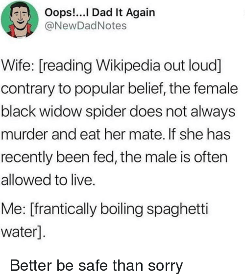 Dad, Sorry, and Spider: RIT  Oops I Dad It Again  @NewDadNotes  Wife: [reading Wikipedia out loud]  contrary to popular belief, the female  black widow spider does not always  murder and eat her mate. If she has  recently been fed, the male is often  allowed to live.  Me: [frantically boiling spaghetti  water] Better be safe than sorry