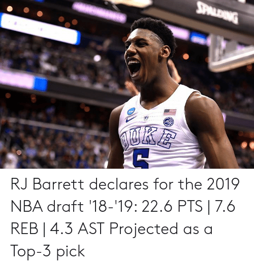 Nba, Nba Draft, and Top: RJ Barrett declares for the 2019 NBA draft  '18-'19: 22.6 PTS | 7.6 REB | 4.3 AST  Projected as a Top-3 pick