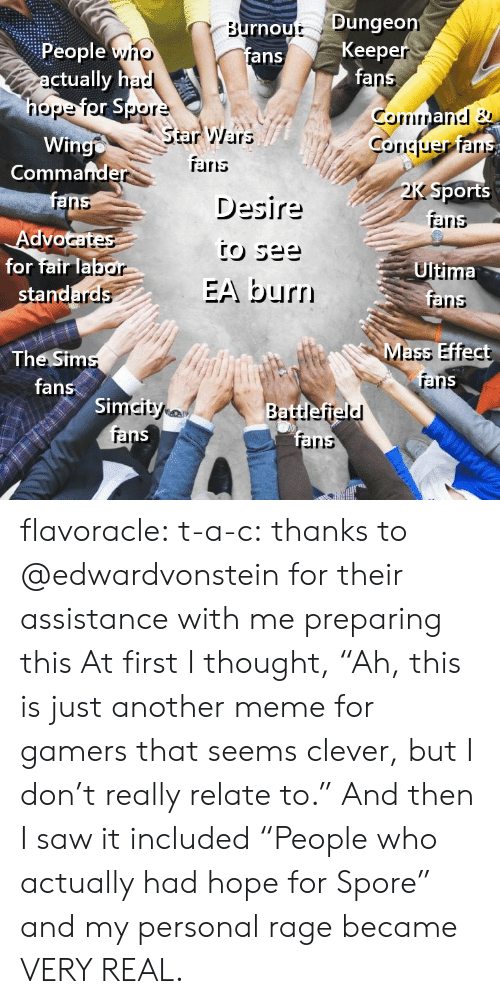 """Irs, Meme, and Saw: rnout Dunge  fans  Keep  fa  People yno  ctually h  nope  StarWars  Wingo  Coriciuer ar  Commafnde  TErris  Desire  Sports  aris  ranns  Advo  for fair lab  Ultima  EA burn  rainns  Mass Effect  The Sim  fans  rar  Si  rel  irs flavoracle:  t-a-c: thanks to @edwardvonstein for their assistance with me preparing this  At first I thought, """"Ah, this is just another meme for gamers that seems clever, but I don't really relate to.""""  And then I saw it included """"People who actually had hope for Spore"""" and my personal rage became VERY REAL."""