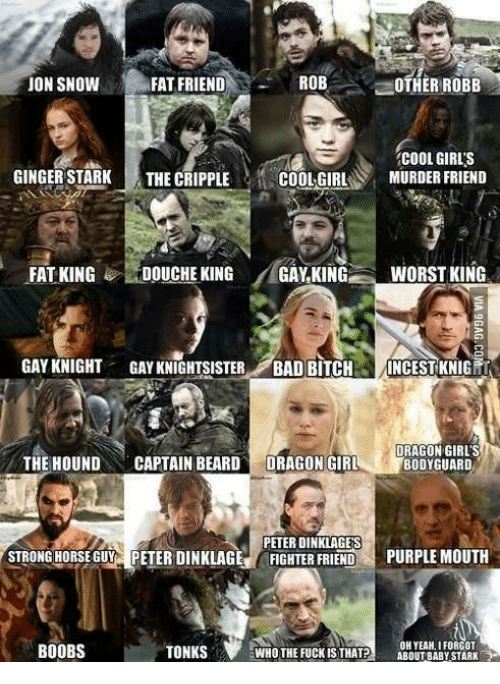 Memes, 🤖, and Dragon: ROB  JON SNOW  FAT FRIEND  OTHER ROBB  COOL GIRLS  GINGER STARK  THE CRIPPLE  COOL GIRL  MURDER FRIEND  FAT KING  DOUCHE KING  GAY KING  WORST KING  GAY KNIGHT  GAYKNIGHTSISTER  BAD BITCH  INCEST KNIG  DRAGON GIRLS  THE HOUND  CAPTAIN BEARD  DRAGON GIRL  BODYGUARD  PETER DINKLAGES  STRONGHORSE GUY PETER DINKLAGE  FIGHTER FRIEND  PURPLE MOUTH  OH YEAH, I FORGOT  WHO THE FUCK ISTHAT?  ABOUT BABY STARK  BOOBS  TONKS