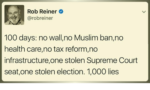 Anaconda, Memes, and Muslim: Rob Reiner  Carobreiner  100 days  no Wallino Muslim ban,no  health care,no tax reform,no  infrastructure,one stolen Supreme Court  seat, one stolen election. 1,000 lies