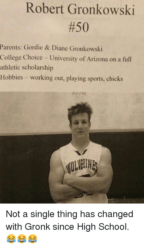 College, Nfl, and Parents: Robert Gronkowski  #50  Parents: Gordie & Diane Gronkowski  College Choice - University of Arizona on a full  athletic scholarship  Hobbies - working out, playing sports, chicks Not a single thing has changed with Gronk since High School. 😂😂😂