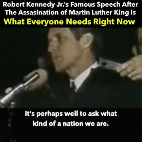 Martin, Martin Luther, and Martin Luther King: Robert Kennedy Jr.'s Famous Speech After  The Assasination of Martin Luther King is  What Everyone Needs Right Now  It's perhaps well to ask what  kind of a nation we are.