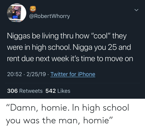 """Homie, Iphone, and School: @RobertWhorry  Niggas be living thru how """"cool"""" they  were in high school. Nigga you 25 and  rent due next week it's time to move on  20:52 2/25/19 Twitter for iPhone  306 Retweets 542 Likes """"Damn, homie. In high school you was the man, homie"""""""