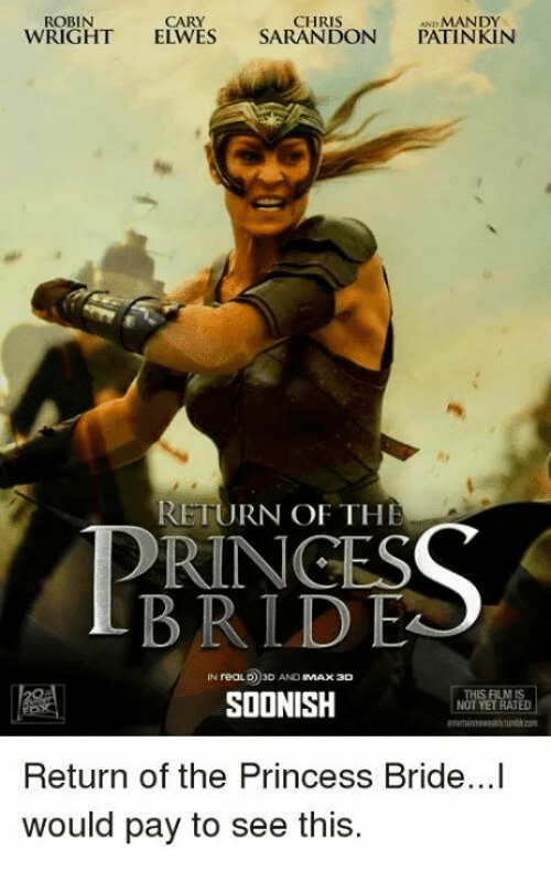 princess bride: ROBIN  CARY  CHRIS  MANDY  WRIGHT  ELWES SARANDON  PATINKIN  RETURN OF THE  PRINCES  BRLD EA  IN reaLO 3D AND  MAX 3D  THIS FILMIS  SOONISH  NOT YET RATED  Return of the Princess Bride...I  would pay to see this.