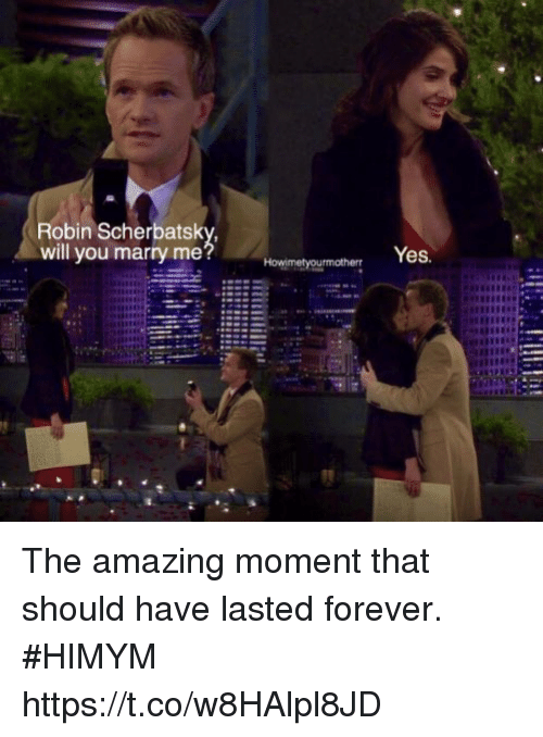 Memes, Forever, and Amazing: Robin Scherbatsk  will you marry me  Yes The amazing moment that should have lasted forever. #HIMYM https://t.co/w8HAlpl8JD