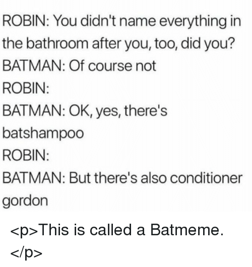 Batman, Robin, and Yes: ROBIN: You didn't name everything in  the bathroom after you, too, did you?  BATMAN: Of course not  ROBIN  BATMAN: OK, yes, there's  batshampoo  ROBIN  BATMAN: But there's also conditioner  gordon <p>This is called a Batmeme.</p>