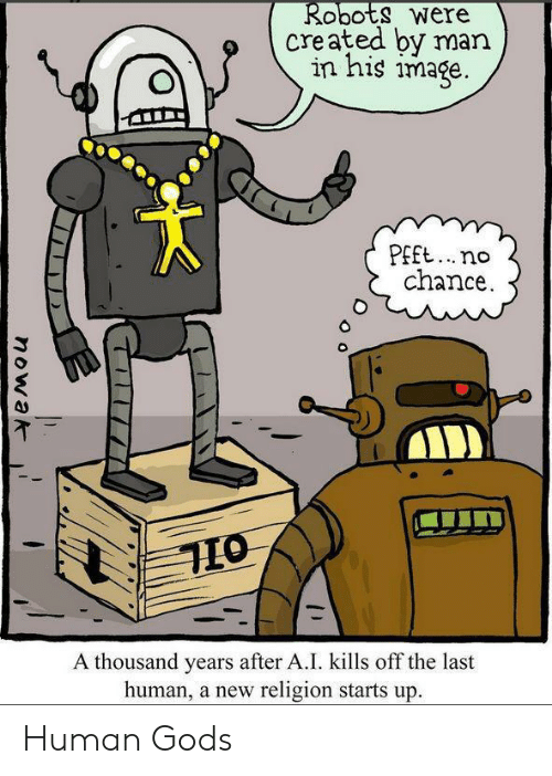 Image, Religion, and Human: Robots were  created by man  in his image.  PEft..no  chance  A thousand years after A.I. kills off the last  human, a new religion starts up.  nowak Human Gods