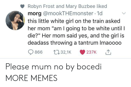 "white girl: Robyn Frost and Mary Buzbee liked  morg @mookTHEmonster 1d  this little white girl on the train asked  her mom ""am I going to be white until I  die?"" Her mom said yes, and the girl is  deadass throwing a tantrum Imaoooo  t32,1K  866  237K Please mum no by bocedi MORE MEMES"