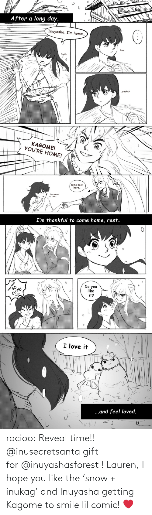 Getting: rocioo: Reveal time!! @inusecretsanta gift for @inuyashasforest ! Lauren, I hope you like the 'snow + inukag' and Inuyasha getting Kagome to smile lil comic! ❤