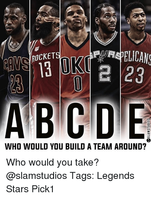 Memes, Stars, and 🤖: ROCKET  e 23  WHO WOULD YOU BUILD A TEAM AROUND? Who would you take? @slamstudios Tags: Legends Stars Pick1