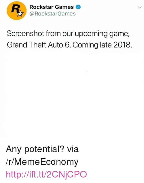 """Game, Games, and Http: Rockstar Games  @RockstarGames  Screenshot from our upcoming game,  Grand Theft Auto 6.Coming late 2018. <p>Any potential? via /r/MemeEconomy <a href=""""http://ift.tt/2CNjCPO"""">http://ift.tt/2CNjCPO</a></p>"""