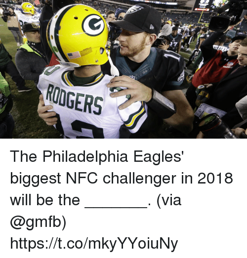 Philadelphia Eagles: RODGERS The Philadelphia Eagles' biggest NFC challenger in 2018 will be the _______.  (via @gmfb) https://t.co/mkyYYoiuNy