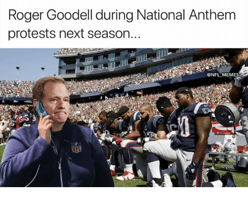 Memes, Nfl, and Roger: Roger Goodell during National Anthem  protests next season..  @NFL MEMES
