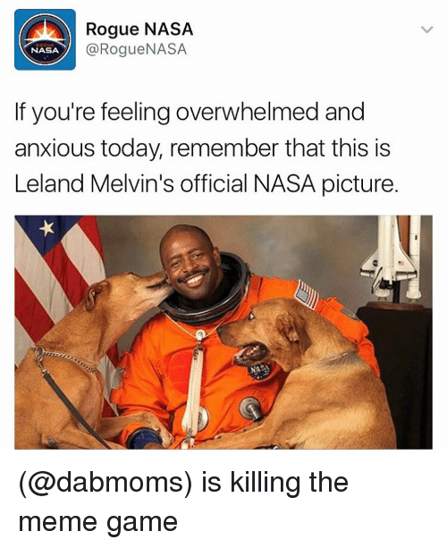 Is Kill: Rogue NASA  Rogue NASA  NASA  If you're feeling overwhelmed and  anxious today, remember that this is  Leland Melvin's official NASA picture. (@dabmoms) is killing the meme game