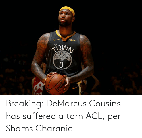 DeMarcus Cousins, Torn, and Acl: Rokuten  OWN  Jhe  SPALDING Breaking: DeMarcus Cousins has suffered a torn ACL, per Shams Charania